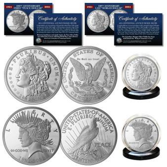 100th Anniversary MORGAN DOLLAR & PEACE DOLLAR 1 OZ Silver-Nickel 2 Coin Set