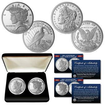 100th Anniversary MORGAN DOLLAR & PEACE DOLLAR 1 OZ Silver-Nickel 2 Coin Set With Case