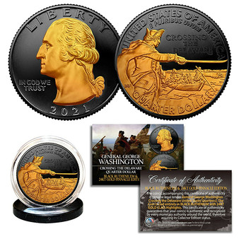2021 Washington Crossing Delaware Quarter 24K Gold on Black Ruthenium