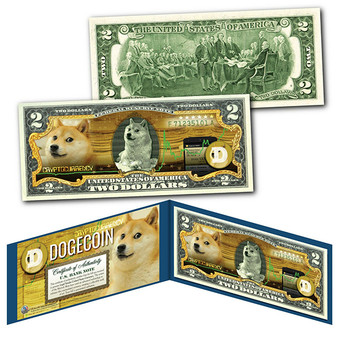 Dogecoin CryptoCurrency Collector's Art Colorized $2 Bill
