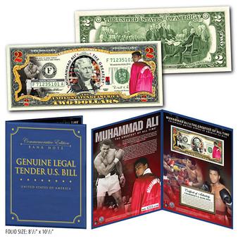 Muhammad Ali Deluxe Folio Edition Colorized $2 Bill