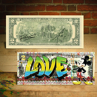 MICKEY MOUSE Graffiti LOVE $2 Bill Pop Art - HAND SIGNED by Rency
