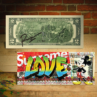 MICKEY MOUSE Graffiti LOVE SUPREME Hand Signed by Rency $2 Bill - S/N # of 80