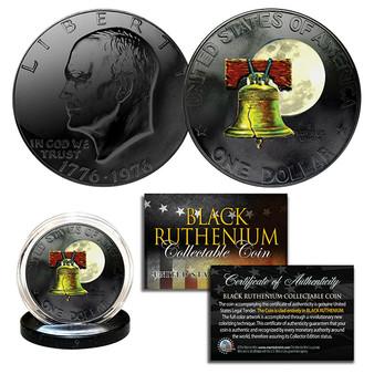 Black Ruthenium & Colorized 1976 Bicentennial Ike Dollar