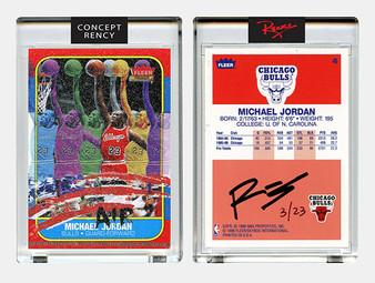 Rency Art Jordan 1996 Fleer Rookie Card Multi-Image Art Diamond Dust Ltd & S/N of 23
