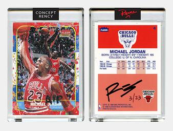 Rency Art Jordan 1996 Fleer Rookie Card Tongue Dunk Art Diamond Dust Ltd & S/N of 23