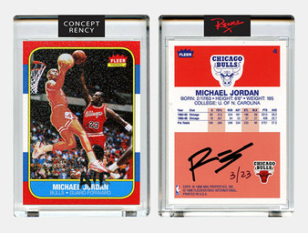 Rency Art Jordan 1996 Fleer Rookie Card Reverse Dunk Art Diamond Dust Ltd S/N of 23