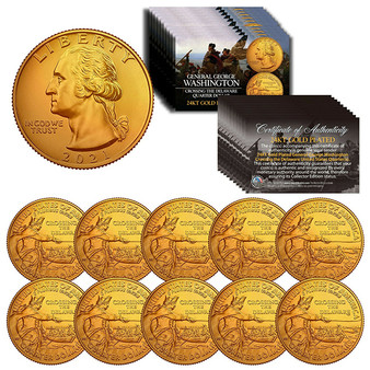 2021 Washington Crossing the Delaware Quarter 24K Gold Plated - Lot of 10
