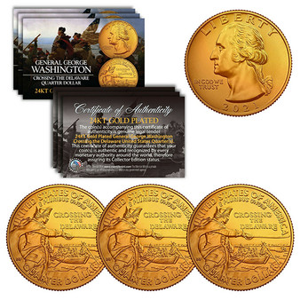 2021 Washington Crossing the Delaware Quarter 24K Gold Plated - Lot of 3