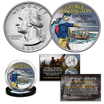2021 Washington Crossing the Delaware Colorized Quarter