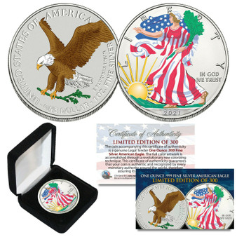 2021 Colorized 2 Sided 1 OZ .999 Silver American Eagle LTD of 300 - TYPE 2