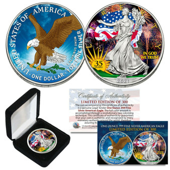 2021 Colorized 2 Sided 1 OZ .999 Silver American Eagle 35th Anniversary LTD of 300 - TYPE 2