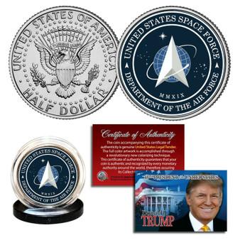 Space Force USSF w/ Trump Certificate Colorized JFK Half Dollar