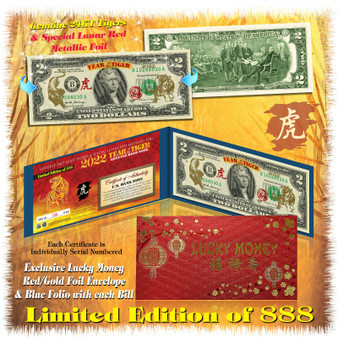 2022 Year Of The Tiger 24K Gold Colorized $2 Bill Limited Edition of 888