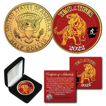 2022 Chinese Year of the Tiger 24K Gold Plated & Colorized JFK Half Dollar With Box
