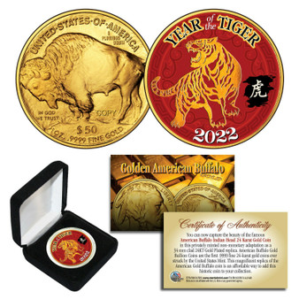 2022 Chinese Year Of Tiger 24K Gold Clad $50 American Buffalo Tribute Coin With Box