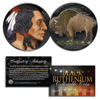 1930's Ruthenium Clad & Colorized Original Indian Head Buffalo Nickel