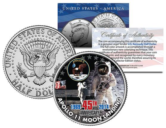 Apollo 11 45th Anniversary Colorized 2014 JFK Half Dollar