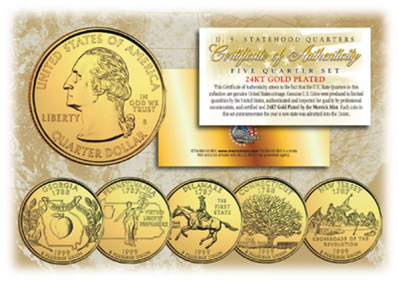24K Gold Plated State Quarter Series 1999