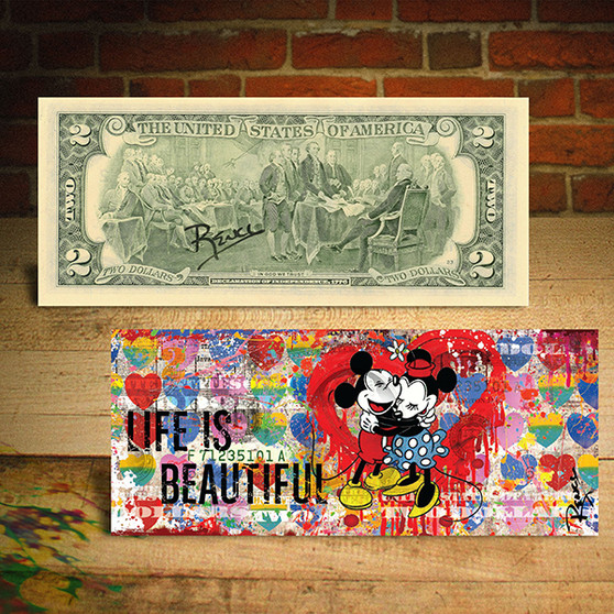 Mickey & Minnie Mouse Life Is Beautiful Genuine $2 U.S. Bill Signed by Rency