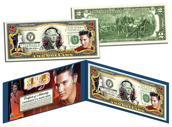 Elvis Presley Commemorative Colorized $2 Bill
