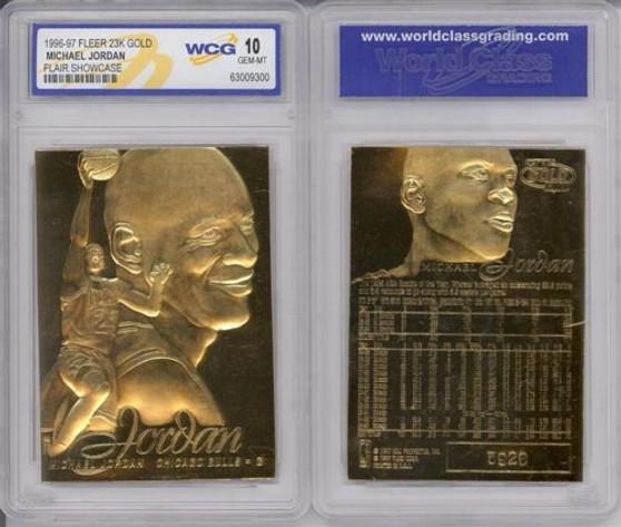 1996 Michael Jordan Fleer Flair Showcase 23K Gold Sculptured Card Graded Gem Mint 10