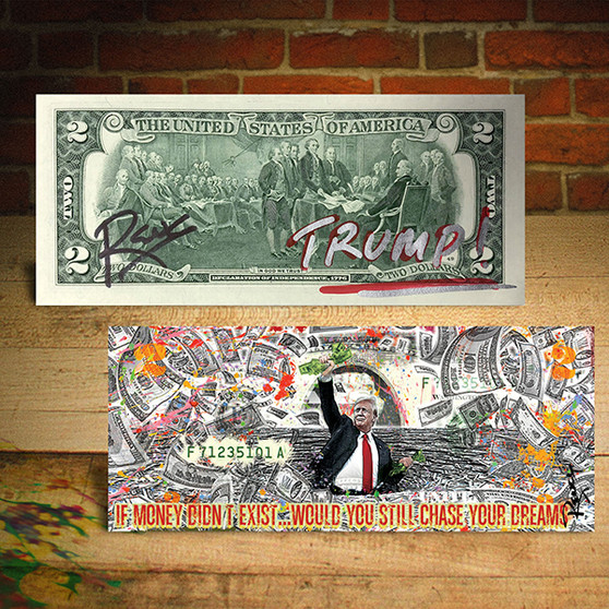 DONALD TRUMP Money and Dreams Geuine $2 Bill SIGNED by Rency