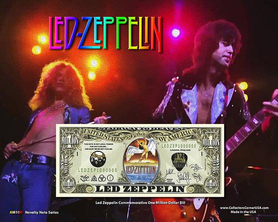 """Led Zeppelin"" Novelty Million Dollar Bill Obverse Display on an 8"" x 10"" Display Card"