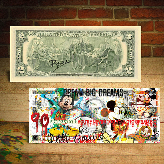 MICKEY MOUSE 90th Birthday Genuine $2 U.S. Bill Pop Art Hand-Signed by Rency