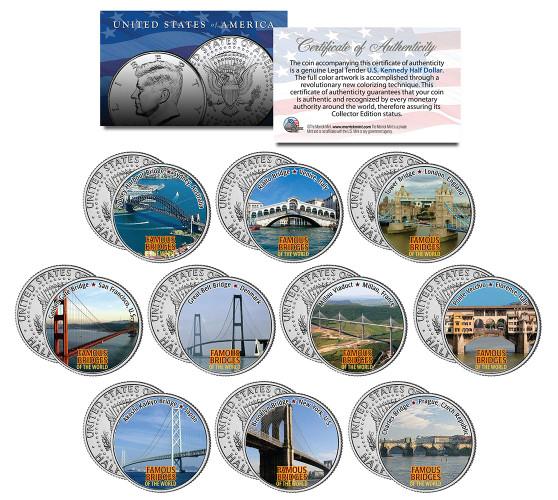 Famous Bridges Of The World Colorized JFK Half Dollar 10 Coin Set