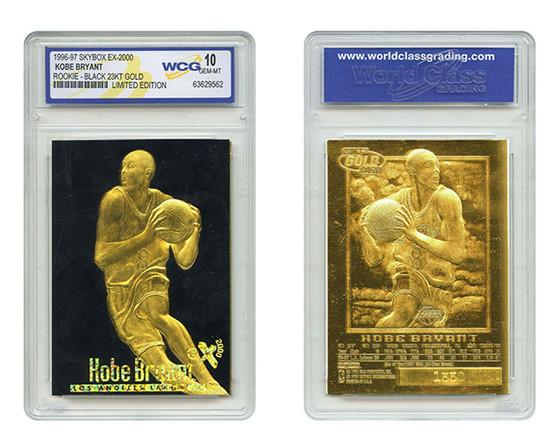 Kobe Bryant SkyBox EX-2000 Black Gold 1996 23K Gold Sculptured Card Graded Gem Mint 10