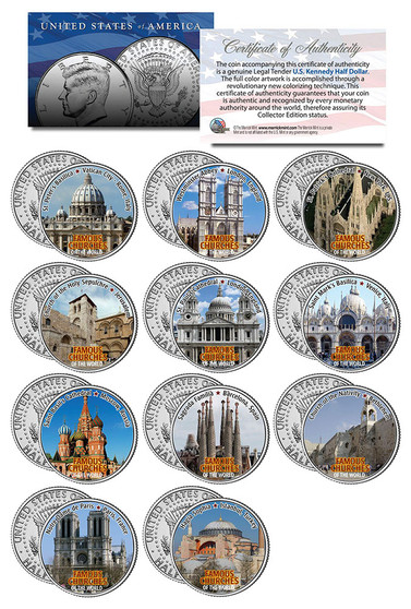 Famous Churches Of The World Colorized JFK Half Dollar 11 Coin Set