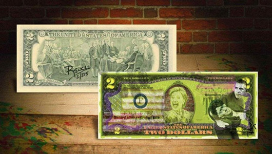 Rency Art Hillary & Obama Colorized $2 Bill - Numbered of 215
