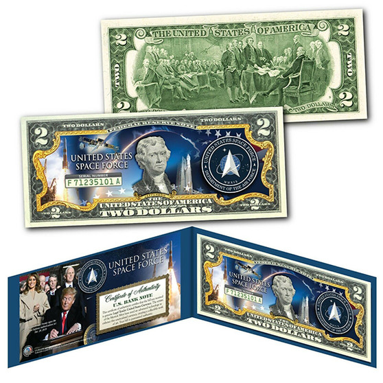 United States Space Force USSF 6th Military Branch Colorized $2 Bill