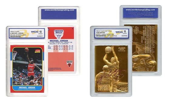 Kobe Bryant Gold & Michael Jordan Decade Fleer Rookie 2 Card Set Graded Mint Gem 10