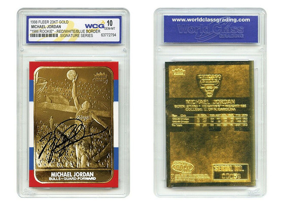 1998 Michael Jordan Fleer Rookie Signature 23K Gold Card Gem Mint 10