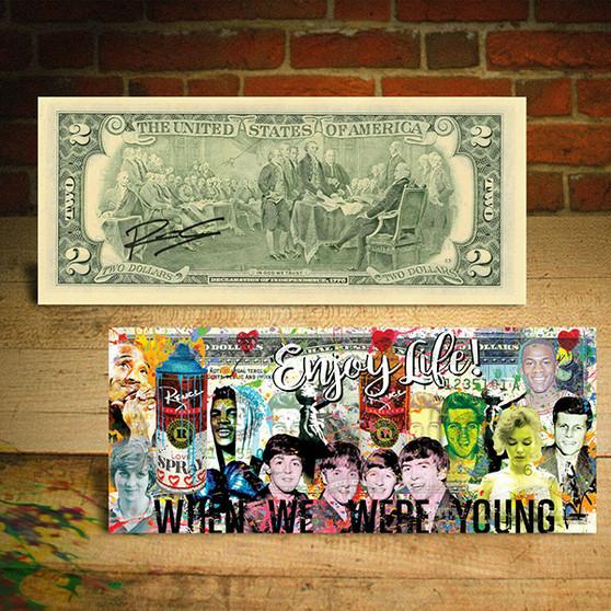 Historical Figures Beatles Elvis Monroe Enjoy Life Rency Art $2 Bill
