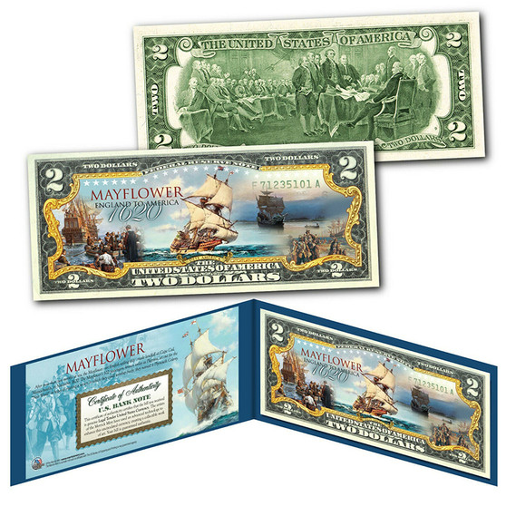 Mayflower Ship Pilgrims Voyage to New World 1620 Colorized $2 Bill