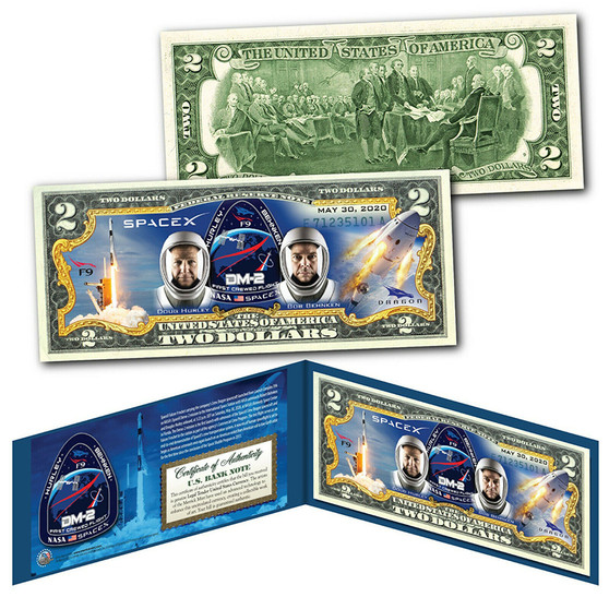 SPACEX F9 & Dragon Rocket Spacecraft NASA Astronauts May 30, 2020 Colorized $2 Bill
