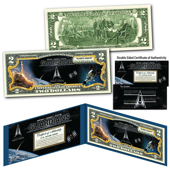 United States SPACE FORCE GUARDIANS 6th Military Branch USSF Colorized $2 Bill