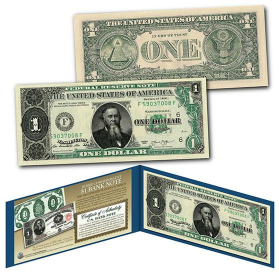 1891 Edwin Stanton Civil War Treasury $1 Banknote Design on Modern $1 Bill