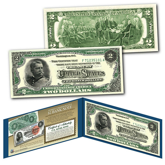 1886 Winfield Scott Hancock Civil War Treasury $2 Banknote Design on Modern $2 Bill
