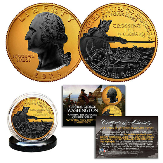 2021 Washington Crossing Delaware Quarter Black Ruthenium on 24K Gold