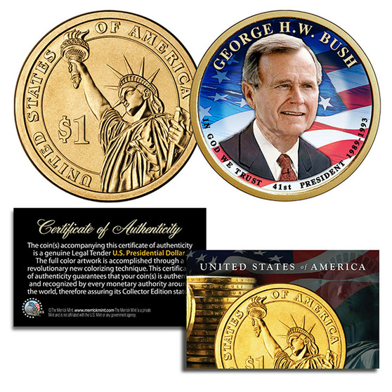 George H. W. Bush 41st President Colorized 2020 $1 Coin