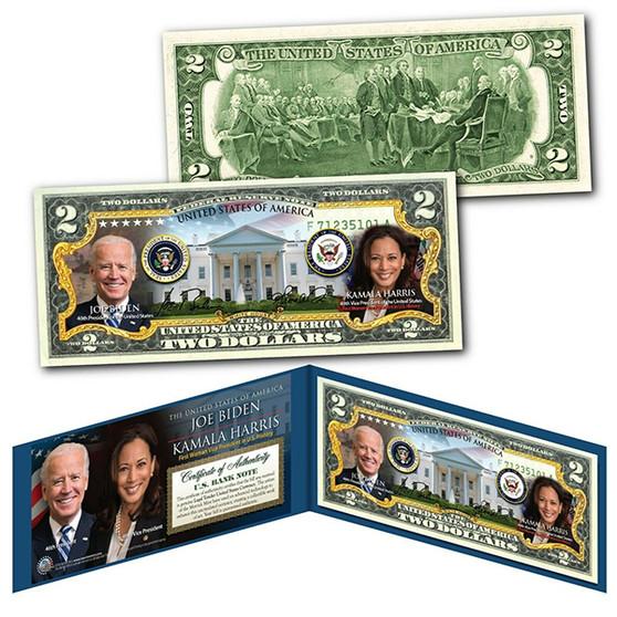 Joe Biden & Kamala Harris Colorized $2 Bill