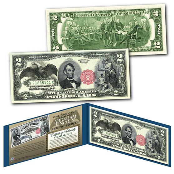 1880 Series $100 Abraham Lincoln Hybrid Banknote designed on modern $2 Bill