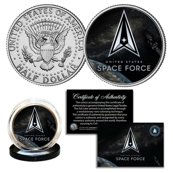 Space Force USSF Official Logo Colorized JFK Half Dollar
