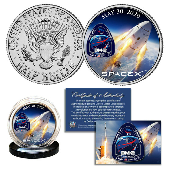 Space X Falcon 9 Rocket Carrying First Ever Crew Colorized JFK Half Dollar