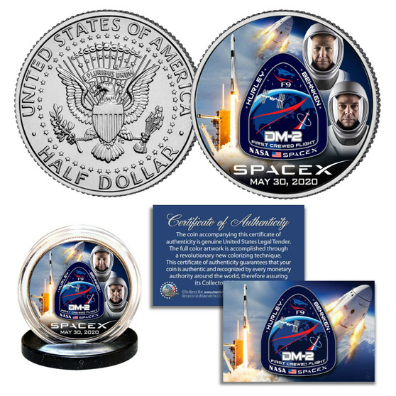 SpaceX Astronauts Falcon 9 Rocket Carrying Crew Colorized JFK Half Dollar