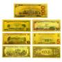 Set of 7 24K Gold Foil U.S. Novelty Bills $1, $2, $5, $10, $20, $50 & $100 2-Sided Notes Reverse